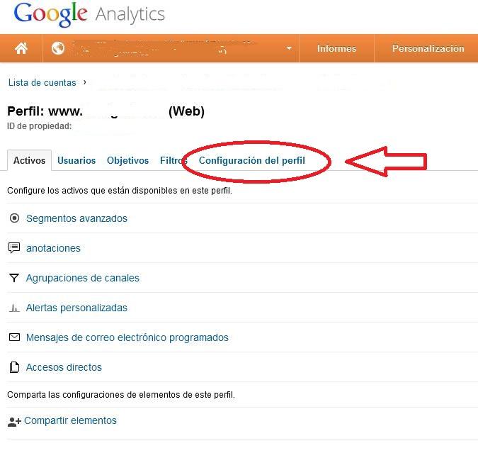 Google Analytics: administador perfiles