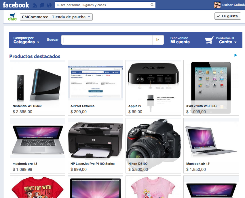 Tienda virtual en Facebook con CM Commerce