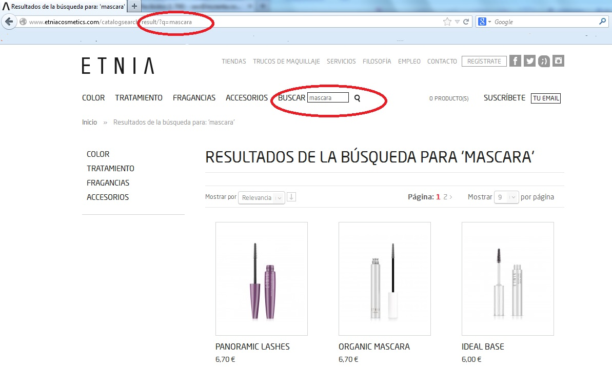 Buscador interno Etnia Cosmetics