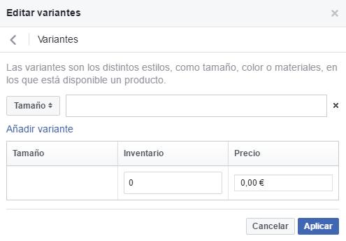 Las tiendas de Facebook permiten habilitar variables para un mismo producto, como el color, la talla, el sabor o las medidas