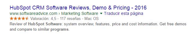 Rich snippets para poner estrellas de opiniones en Google